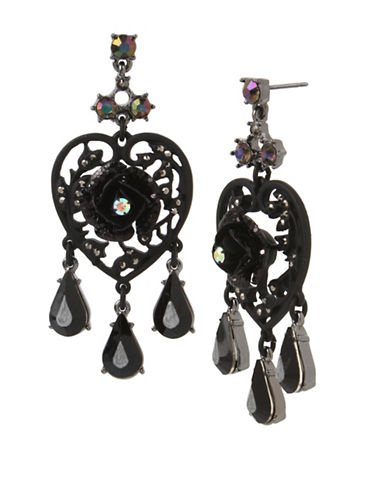 Betsey Johnson Rose Crystal Chandelier Earrings-BLACK-One Size