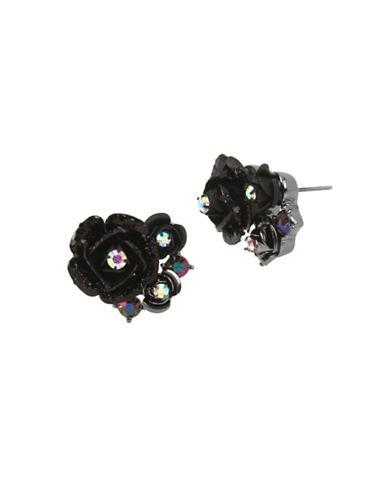 Betsey Johnson Flower Cluster Stud Earrings-BLACK-One Size