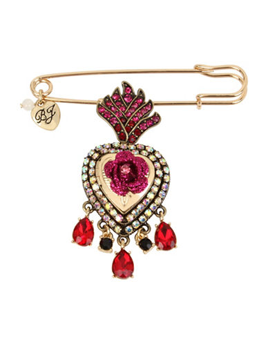 Betsey Johnson Queen Heart Pin-RED-One Size