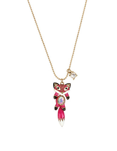 Betsey Johnson Fox Crystal Pendant Necklace-PINK-One Size