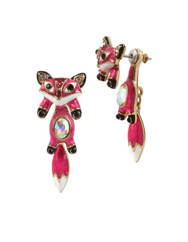 Betsey Johnson Fox Crystal Front Back Earrings-PINK-One Size