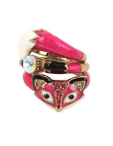 Betsey Johnson Three-Piece Fox Crystal Stacking Ring Set-PINK-7.5