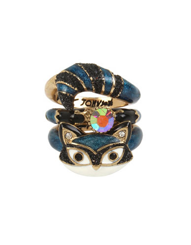 Betsey Johnson Mini Critters Set of Three Crystal Stacking Rings-BLUE-7