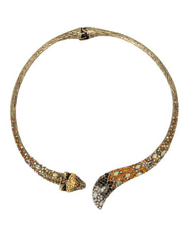 Betsey Johnson Crystal Fox Hinge Collar Necklace-MULTI-One Size