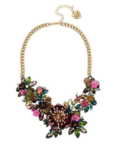Betsey Johnson Flower Statement Frontal Necklace-MULTI-One Size