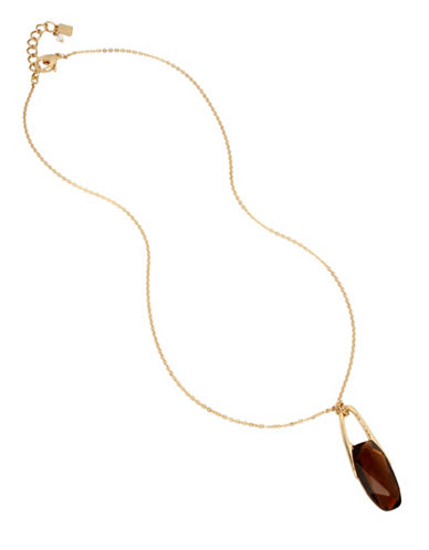 Robert Lee Morris Soho Topaz and Crystal Pendant Necklace-BROWN-One Size