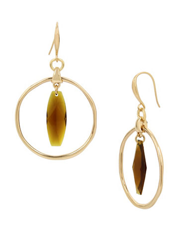 Robert Lee Morris Soho Brown Topaz and Crystal Orbital Earrings-BROWN-One Size