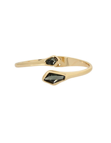 Robert Lee Morris Soho Gold-Tone Hinged Bangle Bracelet-GREEN-One Size