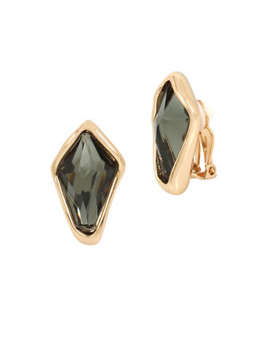 Robert Lee Morris Soho Faceted Stone and Crystal Clip Earrings-GREEN-One Size