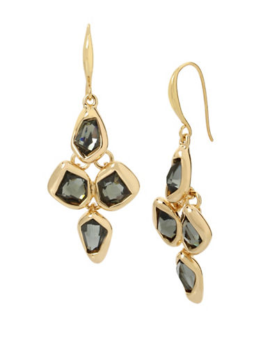 Robert Lee Morris Soho Faceted Stone and Crystal Drop Earrings-GREEN-One Size