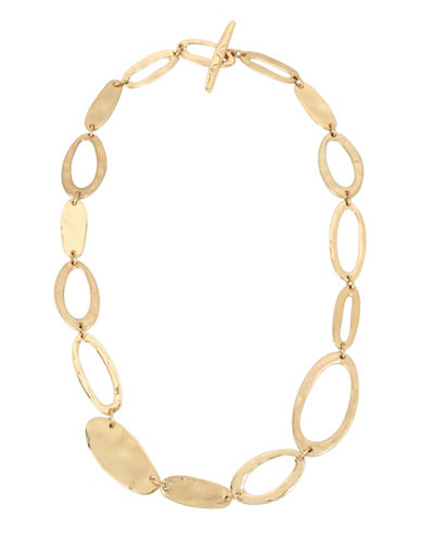 Robert Lee Morris Soho Hammered Accent Link Necklace-GOLD-One Size