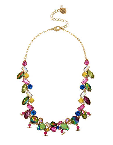 Betsey Johnson Surreal Forest Crystal Frontal Necklace-ASSORTED-One Size