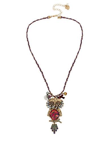 Betsey Johnson Owl Pendant Necklace-MULTI-One Size