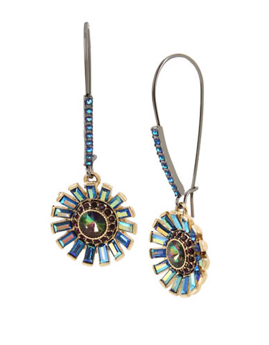 Betsey Johnson Crystal Flower Drop Earrings-BLUE-One Size