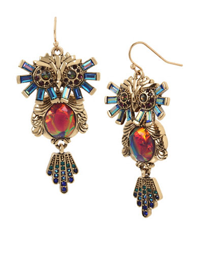 Betsey Johnson Crystal Owl Drop Earrings-MULTI-One Size
