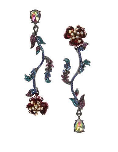 Betsey Johnson Mismatch Linear Flower Crystal Earrings-MULTI-One Size