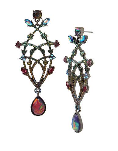 Betsey Johnson Multi-Colour Flower Crystal Chandelier Earrings-MULTI-One Size