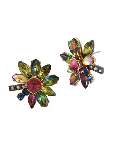 Betsey Johnson Bright Flower Crystal Stud Earrings-MULTI-One Size