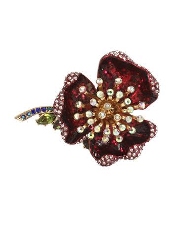 Betsey Johnson Burgundy Flower Crystal Statement Ring-RED-7.5