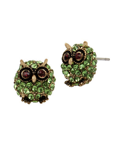 Betsey Johnson Faceted Stone Owl Crystal Stud Earrings-GREEN-One Size