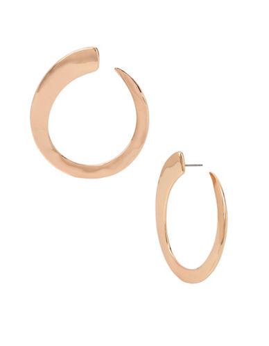Robert Lee Morris Soho Hammered Hoop Post Earrings-ROSE GOLD-One Size