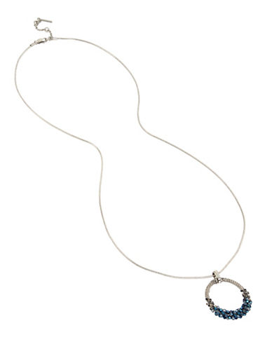 Kenneth Cole New York Crystal Pendant Necklace-BLUE-One Size