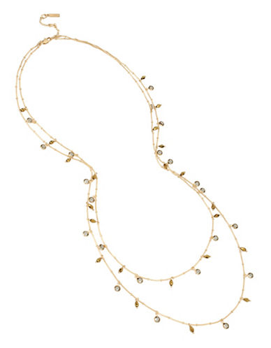 Kenneth Cole New York Crystal Multi-Row Station Necklace-GOLD-One Size