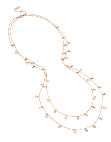 Kenneth Cole New York Crystal Multi-Row Station Necklace-PINK-One Size