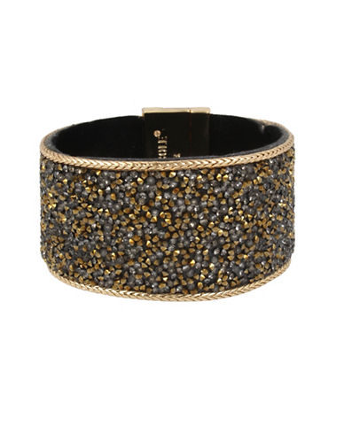 Kenneth Cole New York Crystal Neutral Tonal Sprinkle Statement Bracelet-GOLD-One Size