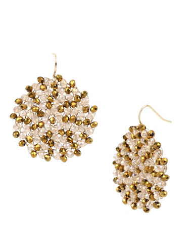 Kenneth Cole New York Neutral Tonal Beaded Woven Earrings-GOLD-One Size