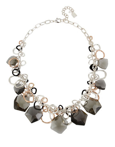 Robert Lee Morris Soho Tri-Tone Link Frontal Necklace-BLACK-One Size