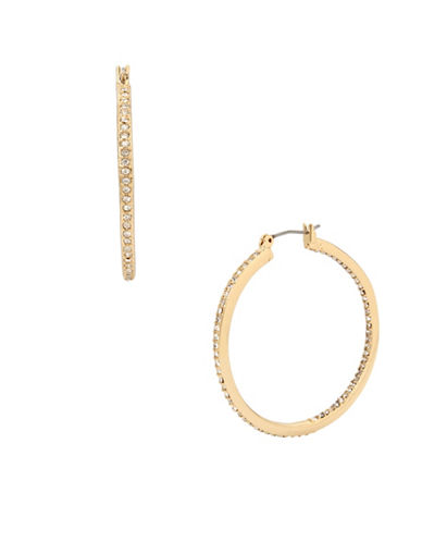 Kenneth Cole New York Goldtone Crystal Hoop Earrings-GOLD-One Size