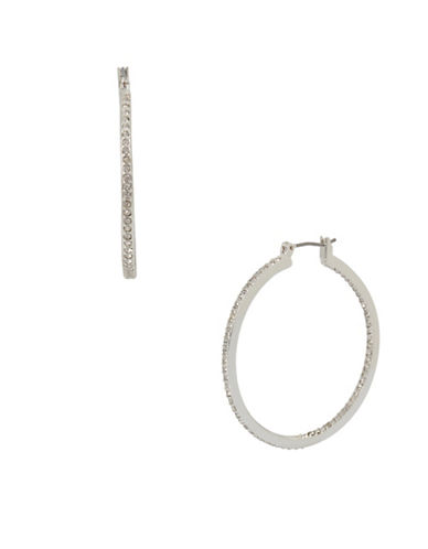 Kenneth Cole New York Crystal Stone Medium Hoop Earrings-SILVER-One Size