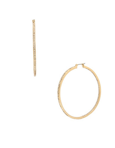 Kenneth Cole New York Crystal Hoop Earrings-GOLD-One Size