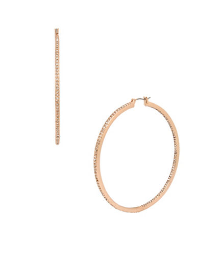 Kenneth Cole New York Crystal large Hoop Earrings-ROSE GOLD-One Size
