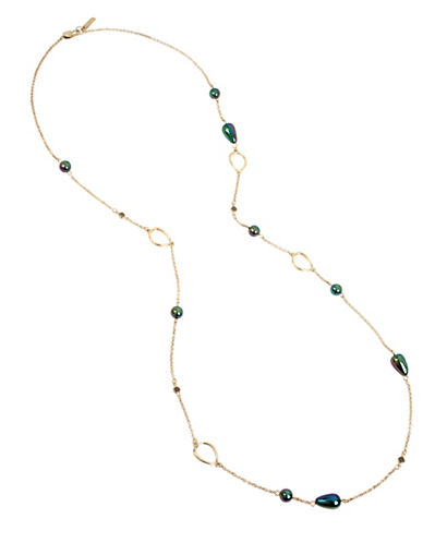 Kenneth Cole New York Peacock Pearl & Stone Necklace-BLUE-One Size