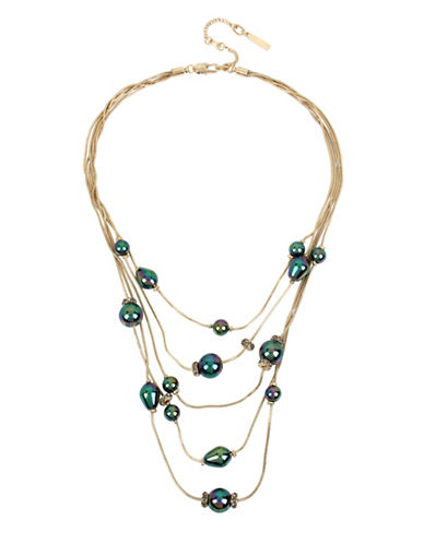 Kenneth Cole New York Peacock Pearl & Stone Multi-Row Necklace-BLUE-One Size