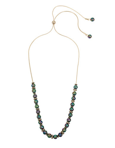Kenneth Cole New York Peacock Pearl & Stone Frontal Necklace-GREEN-One Size