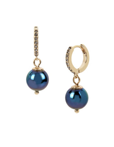 Kenneth Cole New York Peacock Pearl & Stone Hoop Earrings-BLUE-One Size