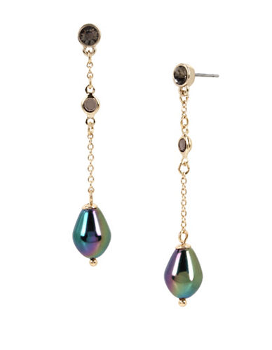 Kenneth Cole New York Black and Peacock Faux Pearl Linear Earrings-ASSORTED-One Size
