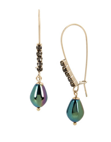 Kenneth Cole New York Peacock Pearl & Stone Drop Earrings-GREEN-One Size