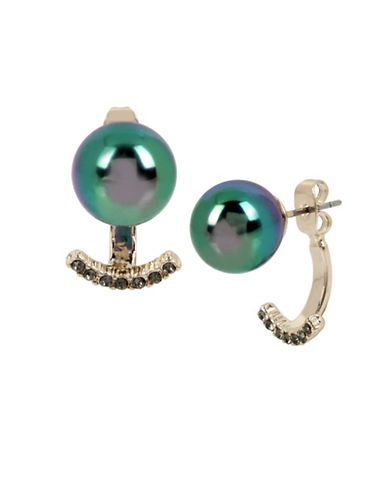 Kenneth Cole New York Peacock Pearl & Stone Earrings-GREEN-One Size