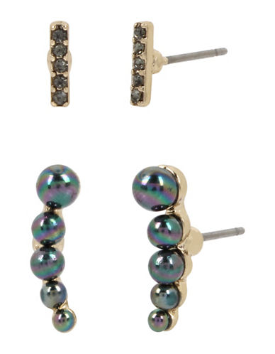 Kenneth Cole New York Peacock Pearl & Stone Earrings Set-GREEN-One Size