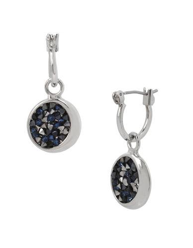 Kenneth Cole New York Sprinkle Stone Drop Hoop Earrings-BLUE-One Size