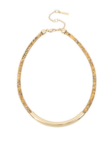 Kenneth Cole New York Frontal Bar Mesh Tube Necklace-GOLD-One Size