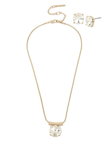 Kenneth Cole New York Two-Piece Crystal Necklace and Earrings Set-GOLD-One Size