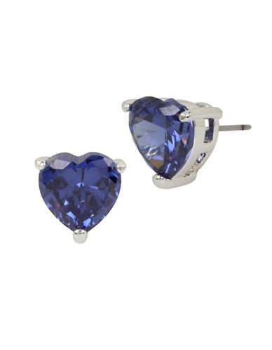 Betsey Johnson Heart Crystal Silvertone Stud Earring-BLUE-One Size