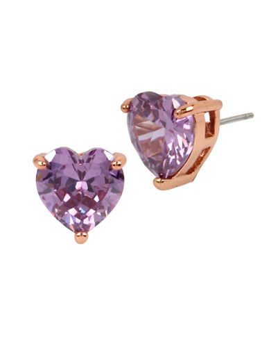 Betsey Johnson Heart Crystal Rose-Goldtone Stud Earring-PURPLE-One Size