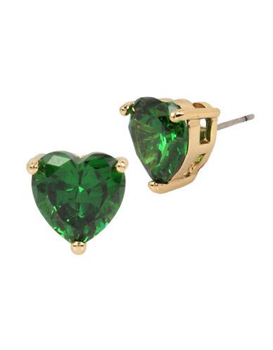 Betsey Johnson Heart Crystal Goldtone Stud Earrings-GREEN-One Size