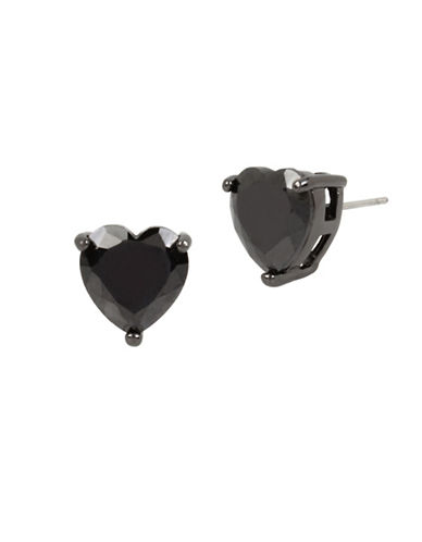 Betsey Johnson Heart Crystal Stud Earrings-BLACK-One Size